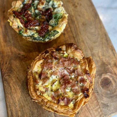 2 deliciosas mini quiches Harina