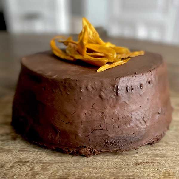 Tarta de chocolate y mango deshidratado Harina
